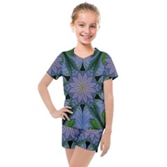 Abstract Flower Artwork Art Green Kids  Mesh Tee And Shorts Set