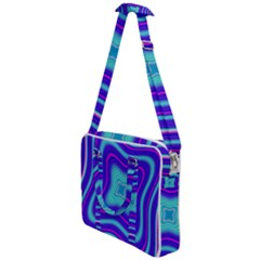 Abstract Artwork Fractal Background Blue Cross Body Office Bag by Sudhe