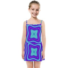 Abstract Artwork Fractal Background Blue Kids  Summer Sun Dress