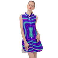 Abstract Artwork Fractal Background Blue Sleeveless Shirt Dress by Sudhe