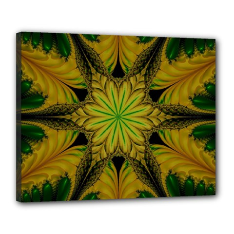 Abstract Flower Artwork Art Green Yellow Canvas 20  X 16  (stretched)