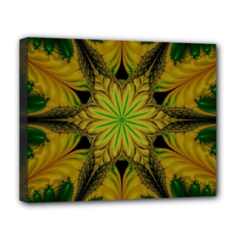 Abstract Flower Artwork Art Green Yellow Deluxe Canvas 20  X 16  (stretched)