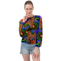 Abstract Fractal Artwork Colorful Banded Bottom Chiffon Top by Sudhe