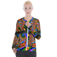 Abstract Fractal Artwork Colorful Casual Zip Up Jacket by Sudhe