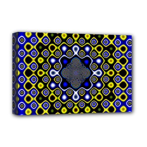 Digital Art Background Yellow Blue Deluxe Canvas 18  X 12  (stretched)