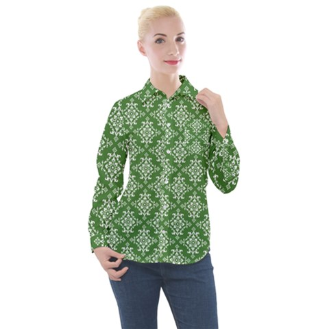 Green Damask Women s Long Sleeve Pocket Shirt by TimelessFashion