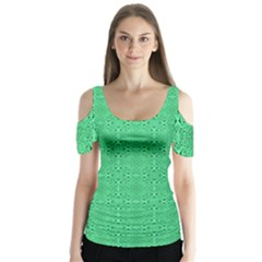 Green Harmony Butterfly Sleeve Cutout Tee  by TimelessFashion