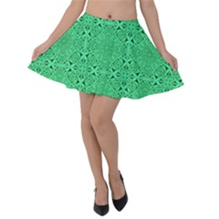 Green Harmony Velvet Skater Skirt by TimelessFashion
