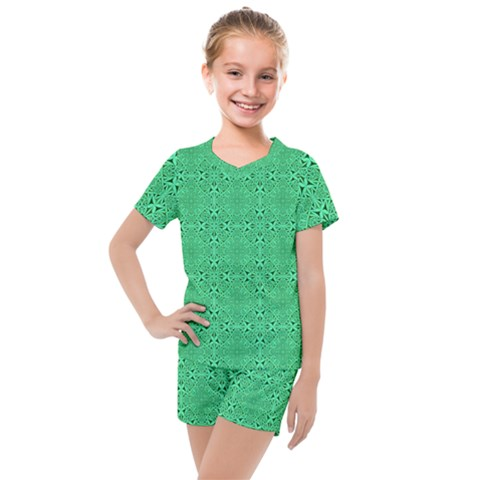 Green Harmony Kids  Mesh Tee And Shorts Set by TimelessFashion