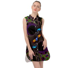 Fractal Artwork Abstract Background Sleeveless Shirt Dress by Sudhe