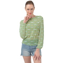 Green Leafs 1 Banded Bottom Chiffon Top by TimelessFashion