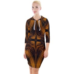 Background Pattern Yellow Gold Black Quarter Sleeve Hood Bodycon Dress