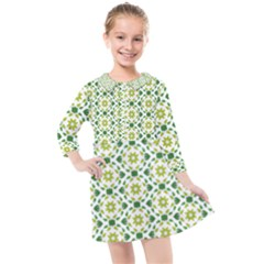 Green Leafs 2 Kids  Quarter Sleeve Shirt Dress by TimelessFashion