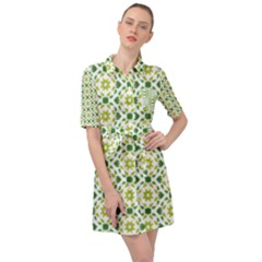 Green Leafs 2 Belted Shirt Dress by TimelessFashion