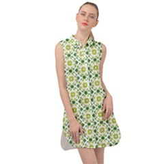 Green Leafs 2 Sleeveless Shirt Dress by TimelessFashion