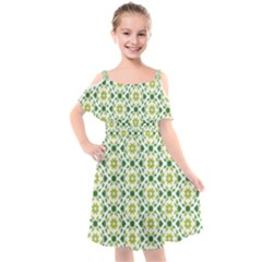 Green Leafs 2 Kids  Cut Out Shoulders Chiffon Dress by TimelessFashion