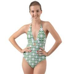 Green Leafs 3 Halter Cut Out One Piece Swimsuit by TimelessFashion