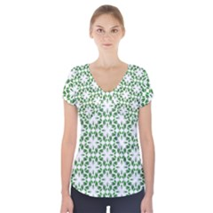 Green Leafs 3 Short Sleeve Front Detail Top