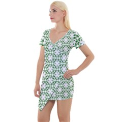 Green Leafs 3 Short Sleeve Asymmetric Mini Dress