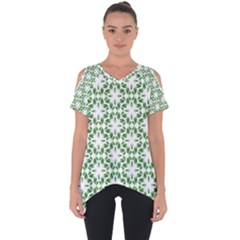 Green Leafs 3 Cut Out Side Drop Tee by TimelessFashion