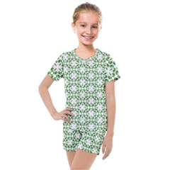 Green Leafs 3 Kids  Mesh Tee And Shorts Set by TimelessFashion