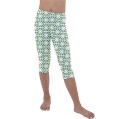 Green Leafs 3 Kids  Lightweight Velour Capri Leggings