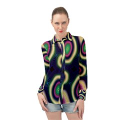 Abstract Artwork Fractal Background Art Pattern Long Sleeve Chiffon Shirt by Sudhe