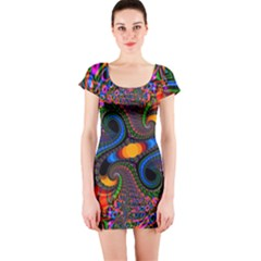 Abstract Fractal Artwork Colorful Short Sleeve Bodycon Dress