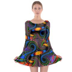Abstract Fractal Artwork Colorful Long Sleeve Skater Dress
