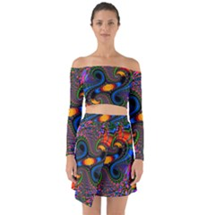 Abstract Fractal Artwork Colorful Off Shoulder Top With Skirt Set