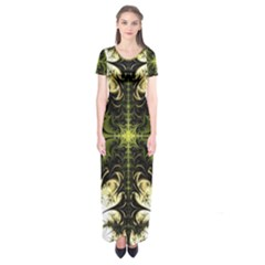 Abstract Fractal Pattern Artwork Short Sleeve Maxi Dress by Sudhe