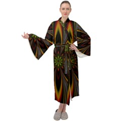 Fractal Artwork Idea Allegory Maxi Tie Front Velour Kimono by Sudhe