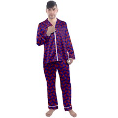 Background Texture Design Geometric Red Blue Men s Satin Pajamas Long Pants Set