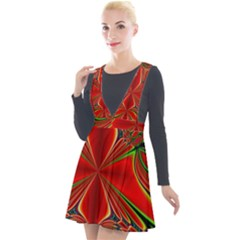 Abstract Abstract Art Fractal Plunge Pinafore Velour Dress