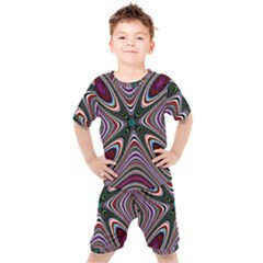 Abstract Artwork Fractal Background Kids  Tee And Shorts Set