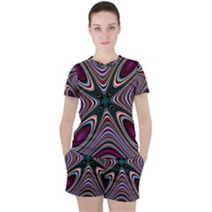 Abstract Artwork Fractal Background Women s Tee And Shorts Set