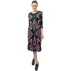 Abstract Artwork Fractal Background Ruffle End Midi Chiffon Dress