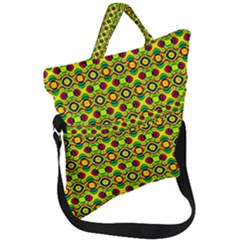 Background Pattern Geometrical Fold Over Handle Tote Bag by Sudhe