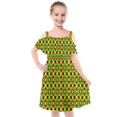 Background Pattern Geometrical Kids  Cut Out Shoulders Chiffon Dress