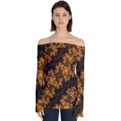 Abstract Fractal Pattern Artwork Flora Off Shoulder Long Sleeve Top
