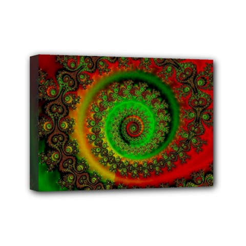 Abstract Fractal Pattern Artwork Art Mini Canvas 7  X 5  (stretched) by Sudhe