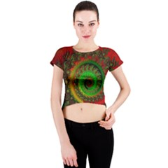 Abstract Fractal Pattern Artwork Art Crew Neck Crop Top by Sudhe