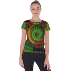 Abstract Fractal Pattern Artwork Art Short Sleeve Sports Top  by Sudhe