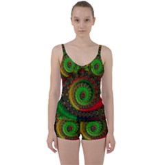Abstract Fractal Pattern Artwork Art Tie Front Two Piece Tankini by Sudhe