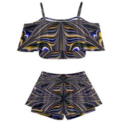 Abstract Art Fractal Unique Pattern Kids  Off Shoulder Skirt Bikini by Sudhe