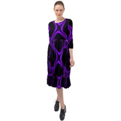 Abstract Fractal Art 3d Artwork Ruffle End Midi Chiffon Dress