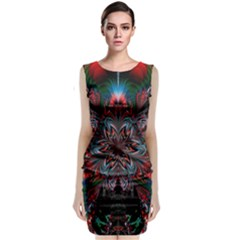 Abstract Flower Artwork Art Sleeveless Velvet Midi Dress