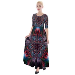 Abstract Flower Artwork Art Half Sleeves Maxi Dress by Sudhe