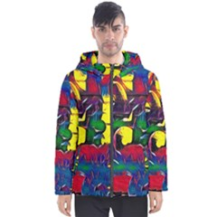 Colorful Shapes Abstract Painting                      Men s Hooded Puffer Jacket by LalyLauraFLM