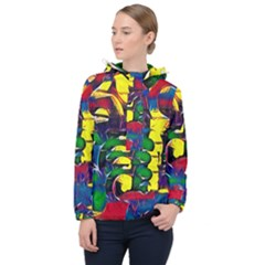 Colorful Shapes Abstract Painting                      Women Hooded Front Pocket Windbreaker